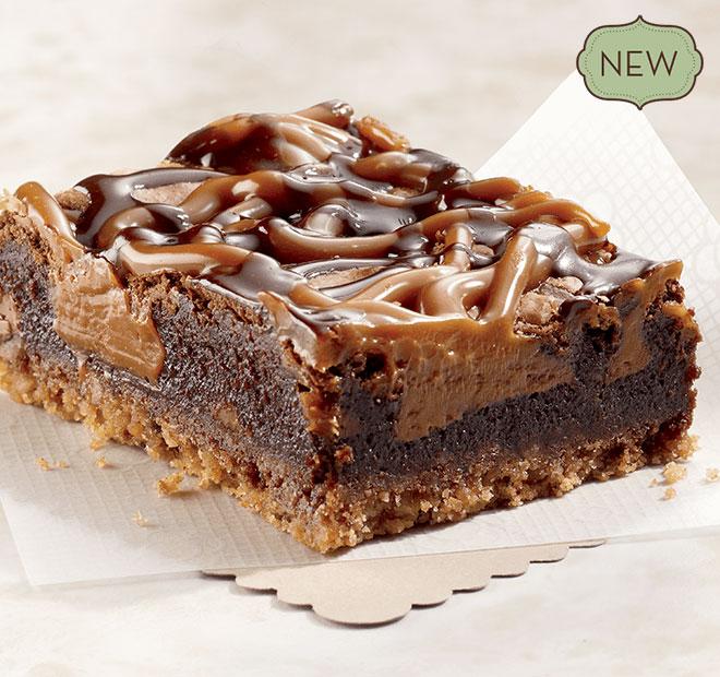 Chocolate & Caramel Pretzel Brownie made with sea salt