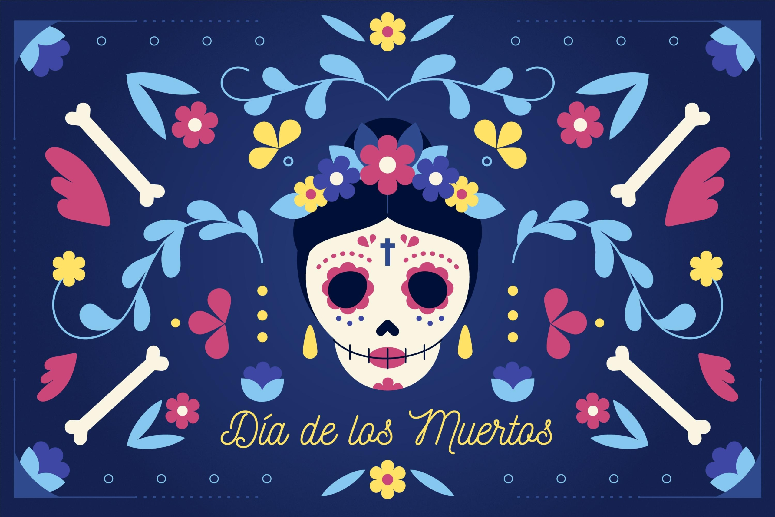 Day of the Dead party ideasgraphic with flowers, skulls, bones | Fat Mama's Tamales