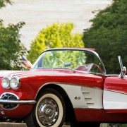 red and white sportscar vintage Adopt a Shutter graphic | Fat Mama's Tamales order online Natchez, MS