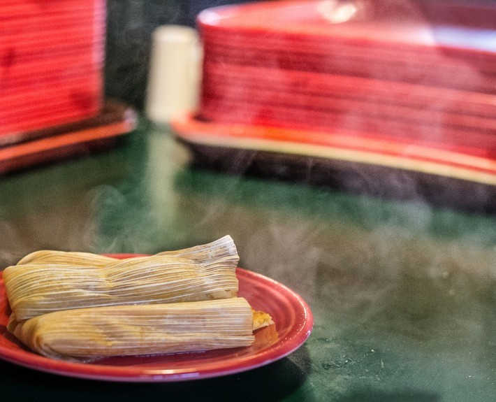 tamales on a red plate | Fat Mama's Tamales Restaurant Natchez MS